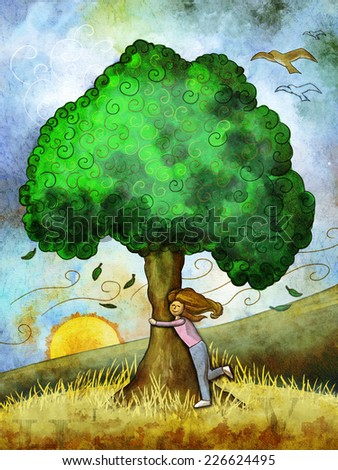 Young girl hugging a tree. Digital illustration. - stock photo