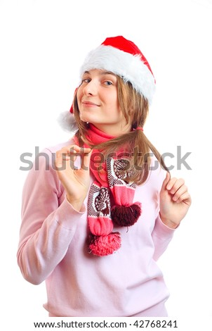 young girl in a Christmas hat - stock photo