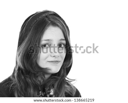 Young girl in a hooded top - stock photo