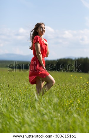 Young girl in a red dress in a field on a day - stock photo