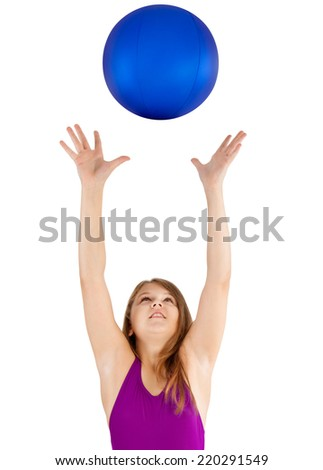 young girl in a swimsuit with a blue water ball