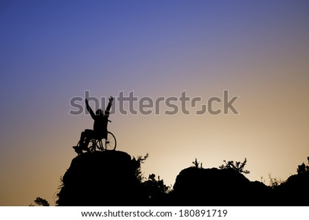 Young girl in a wheelchair - stock photo