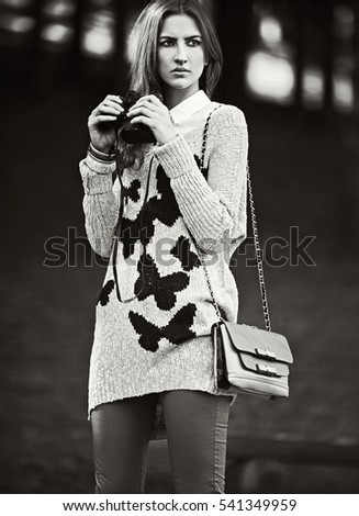 young girl in autumn fashion. black and white