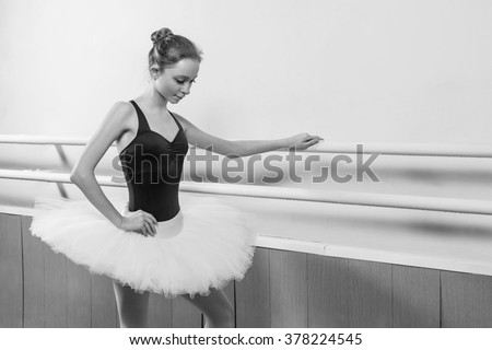 young girl in ballet class - stock photo
