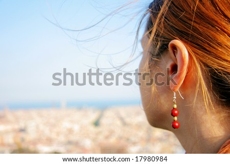young girl in barcelona, spain - stock photo