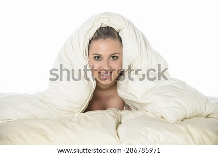Young girl in bed - stock photo