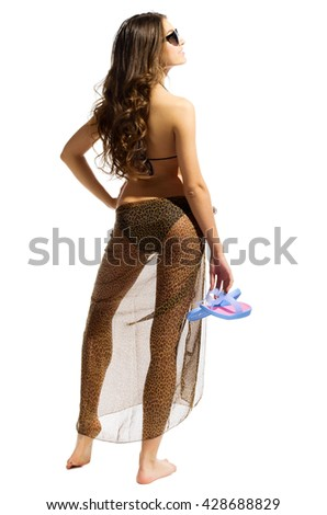 Young girl in bikini with shoes isolated - stock photo