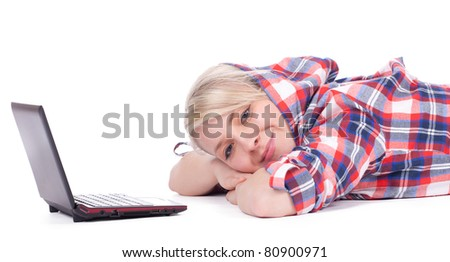 young girl in casual shirt working on laptop, series