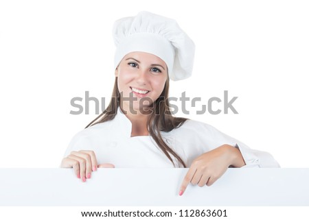 Young girl in chef uniform isolated on white background - stock photo