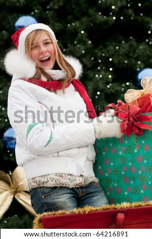 Young girl in Christmas sledge