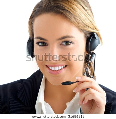 young girl in customer service - stock photo