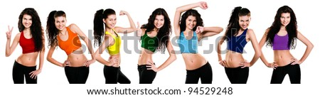 Young girl in different poses and dressed in a rainbow sportswear - stock photo