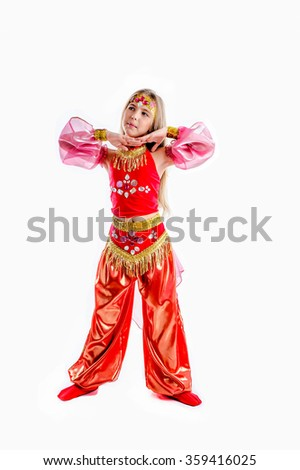 young girl in exotic arabian carnival costume