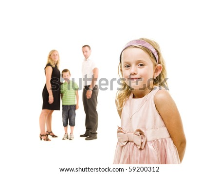 Young Girl in front of her family isolated on white background