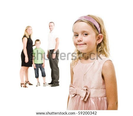 Young girl in front of her family isolated on white background - stock photo