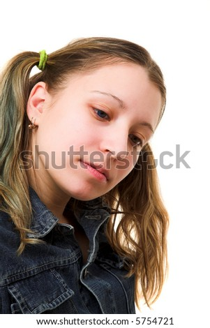 Young girl in jean clothes isolated at the white background