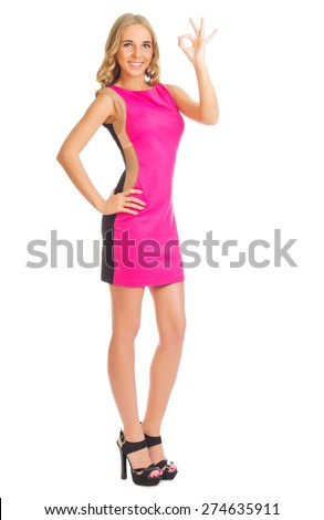 Young girl in red dress isolated - stock photo