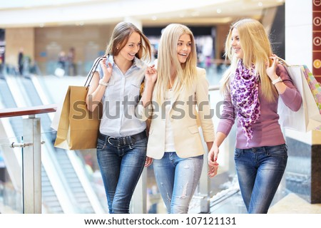 Young girl in shop - stock photo