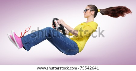 Young girl in sun glasses with a wheel on pink background (concept)