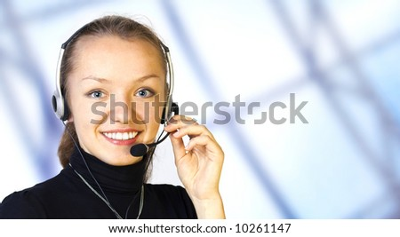 young girl in the customer service center