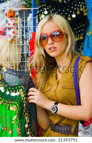 young girl in the market - stock photo