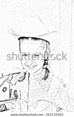 Young girl in western outfit cowgirl. Wearing hat and rhinestone shirt. Sketch image black and white. Portrait view - stock photo