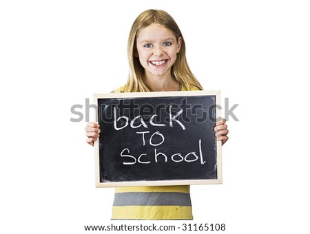 young girl is back to school - stock photo