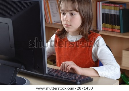 Young girl is learning computer literacy