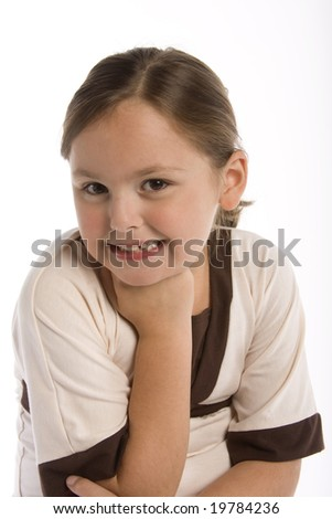 Young girl isolated against a white background