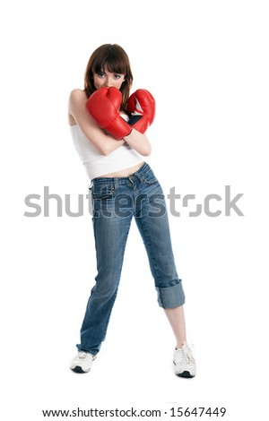 young girl isolated on white - stock photo