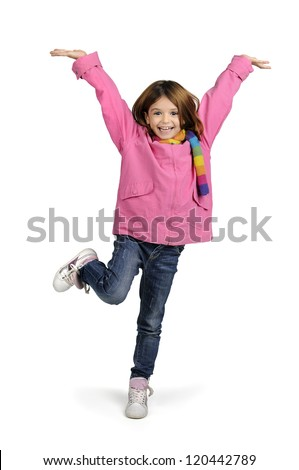 Young girl jumping isolated in white - stock photo