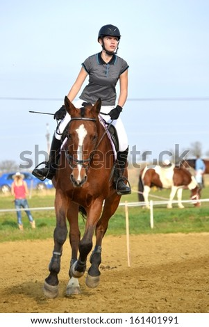 Young girl jumping with horse  - stock photo