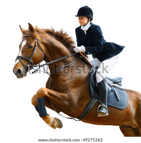 Young girl jumping with sorrel horse - isolated on white - stock photo