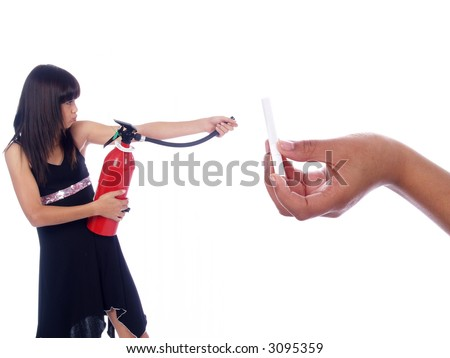 young girl killing cigarette with fire extinguisher - stock photo