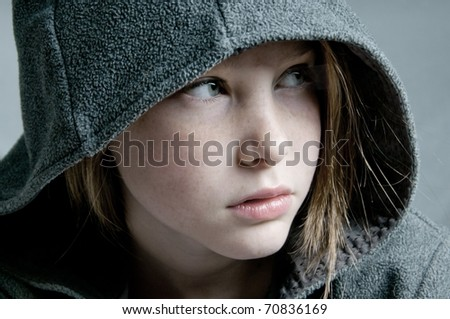 Young girl looking away - stock photo