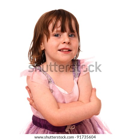 Young girl looking in the camera - stock photo