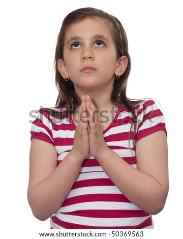 Young girl looking up and praying isolated on white - stock photo