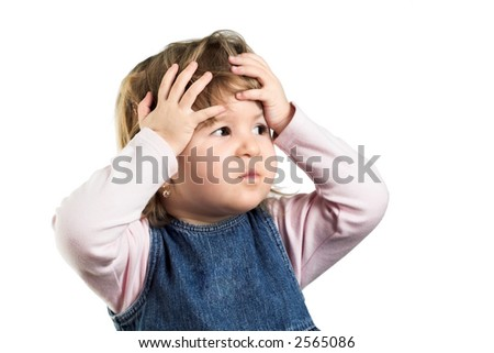 Young girl looks scary or she just wonders how stupid are the grownups. - stock photo