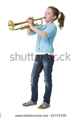 Young girl making music on trumpet against white background - stock photo