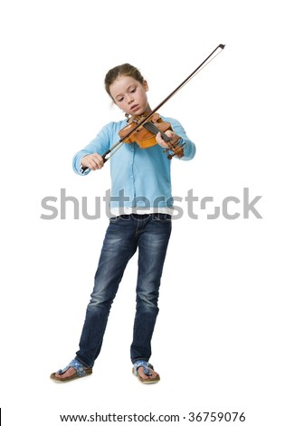 Young girl making music playing a violin against a white background - stock photo