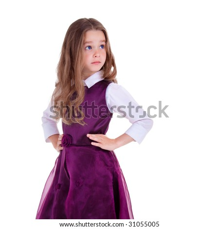 Young girl on white backgroun