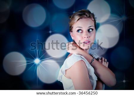 young girl out at a party - stock photo