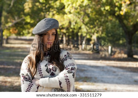 young girl outdoors in autumn