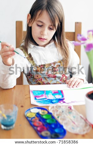 young girl paint