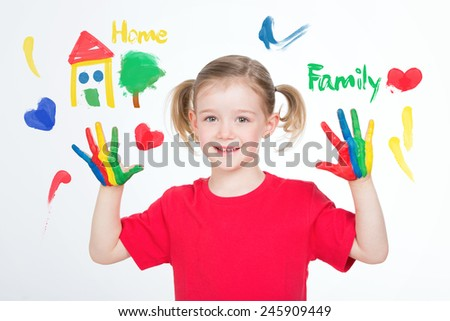 young girl painted the most important things for her - stock photo