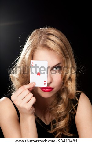 young girl playing in the gambling in casino - stock photo