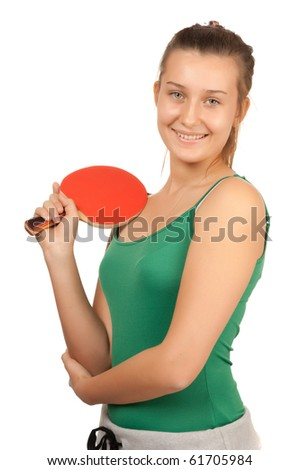 young girl plays  ping-pong isolated on white