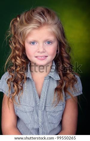 young girl portrait in studio - stock photo