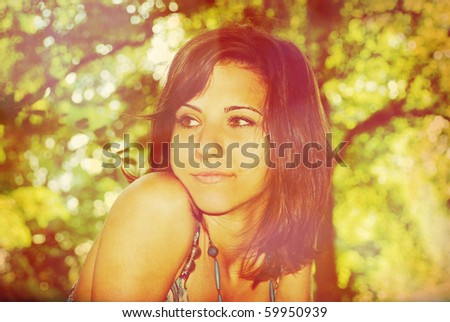 Young girl portrait. Retro styled photo - stock photo