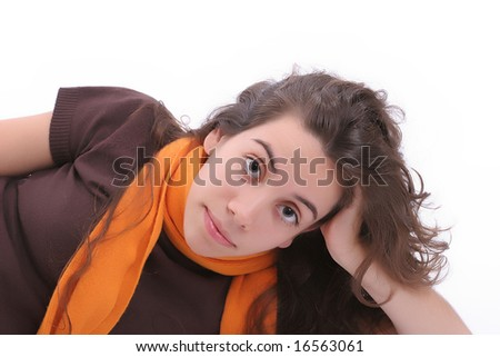 Young girl posing, isolated over white background - stock photo